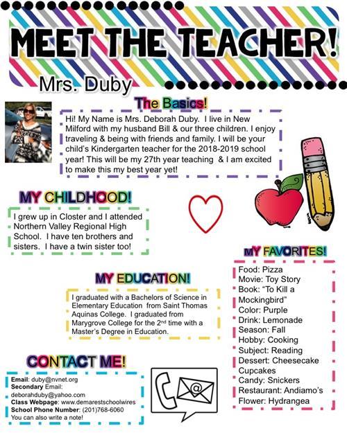 Kindergarten - Duby, Deborah / Meet Mrs  Duby