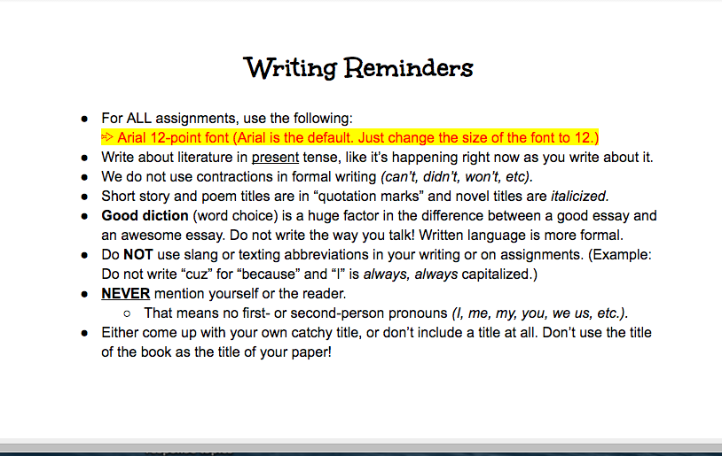 formal writing assignment